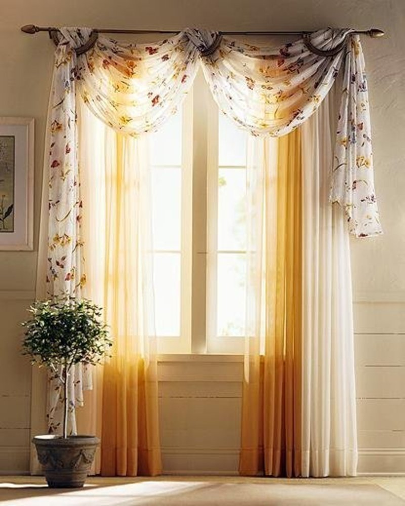 Drapery curtain curtain ideas for living room design for Window valance