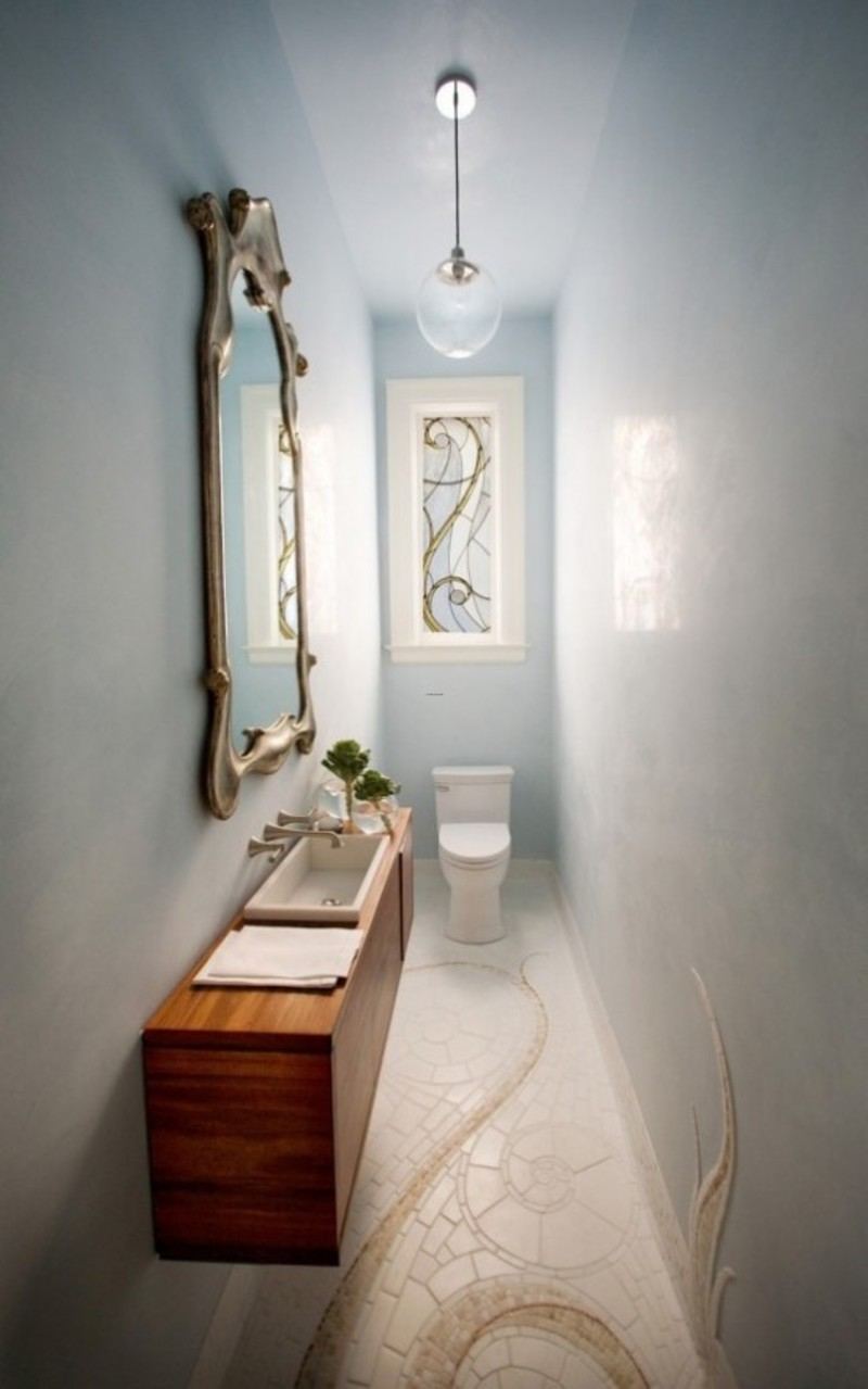 Artistic small toilet design with beautiful marble and for Small wc design