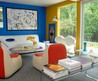 modern country house colorful interior living room design