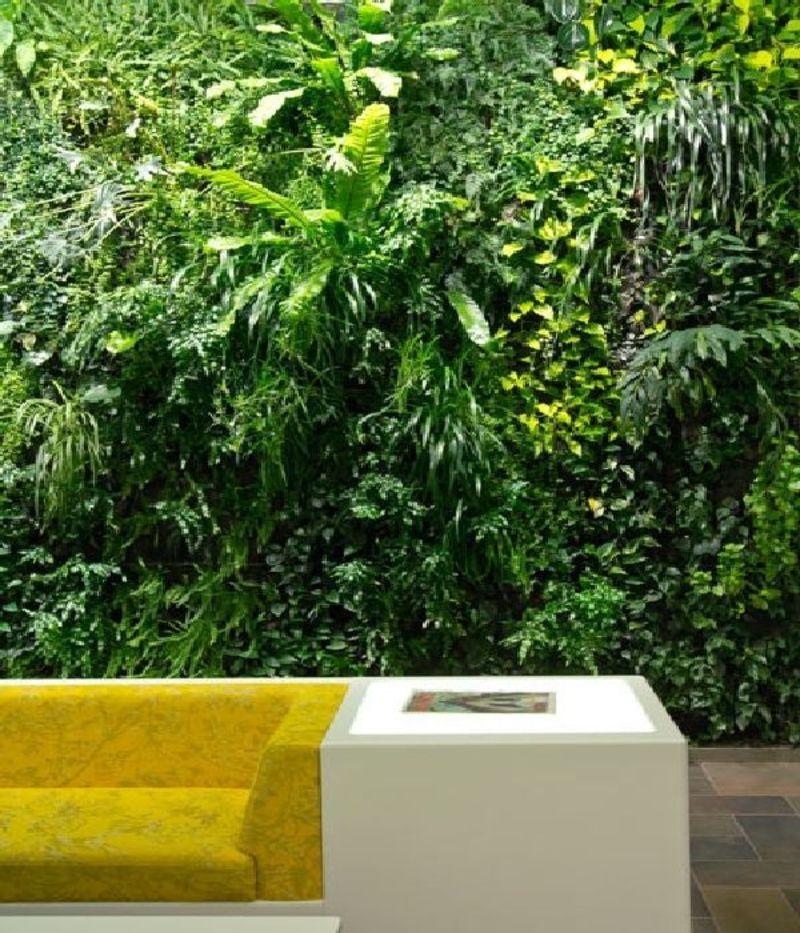 Office Waiting Room Design, Comfort Waiting Room Sofas Design and Two Vertical Gardens in the Wall Entry of a Office Building » Home Interior Ideas, Home Decorating, Home Furniture, Home Architecture, Room Design Ideas