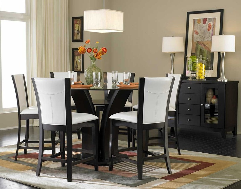 Counter Height Entry Table : The round counter height dining table features and elegant tulip base ...