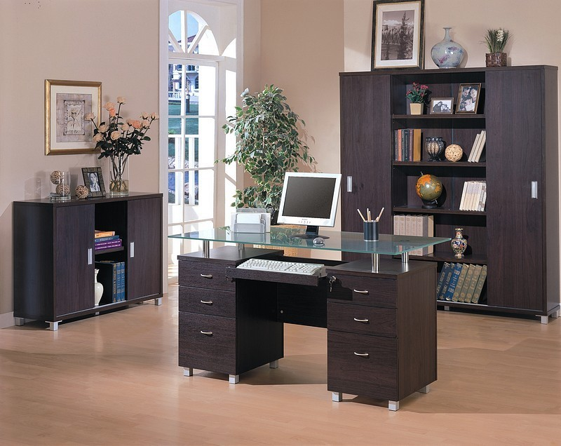 Contemporary Home Office Computer Desk With Glass Top