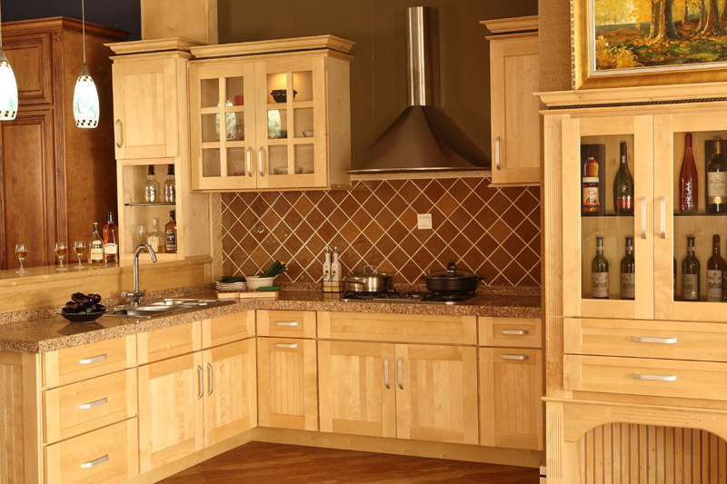 Door Natural Maple Kitchen Cabinet,Kitchen Cabinet, Solid Wood Cabinet