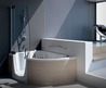 Modern Corner Bathtub with Shower Combo from Teuco /  Home Trends