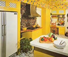 Yellow kitchen furniture in classical style