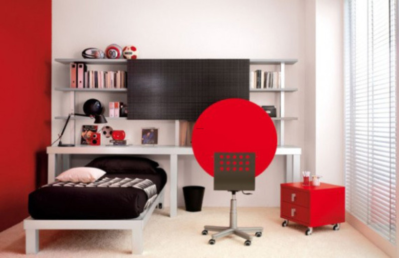 Trendy Teen Bedroom Ideas In Stunning Red And White Colors Design