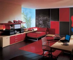 Modern Red and Black Teen Bedroom Theme Design