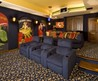 Blue Themes Media Room with Wall Art Design