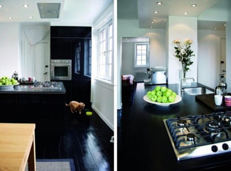 Black Wood Floor Design, Interior Apartment Decoration with Black Wood Floors and White Walls