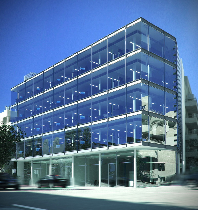 Modern office building plan and exterior rendering for Modern office building exterior design