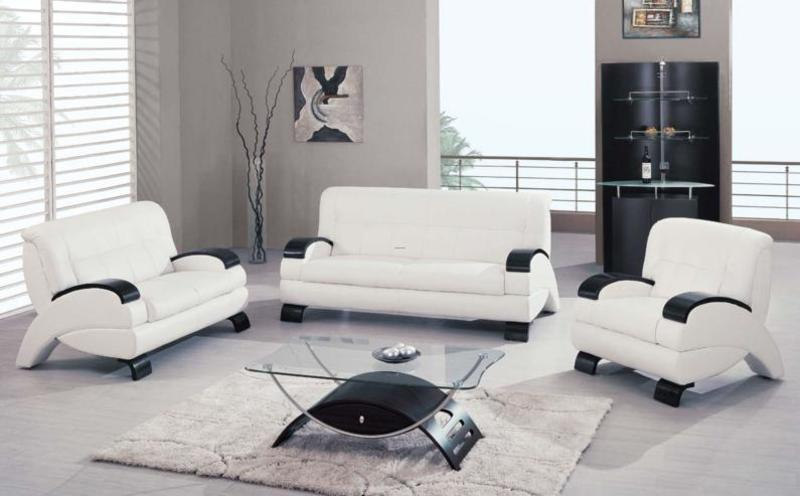 White Cappuccino Black Leather Upholstered Living Room Set Modern Brookly