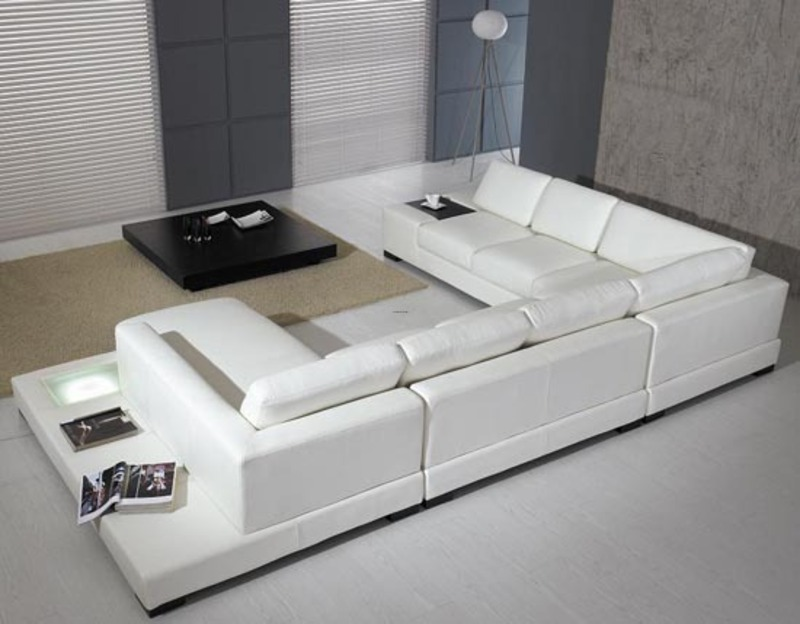 The ultra modern white leather sectional sofa for contemporary living room design design - Ultra modern living room ...