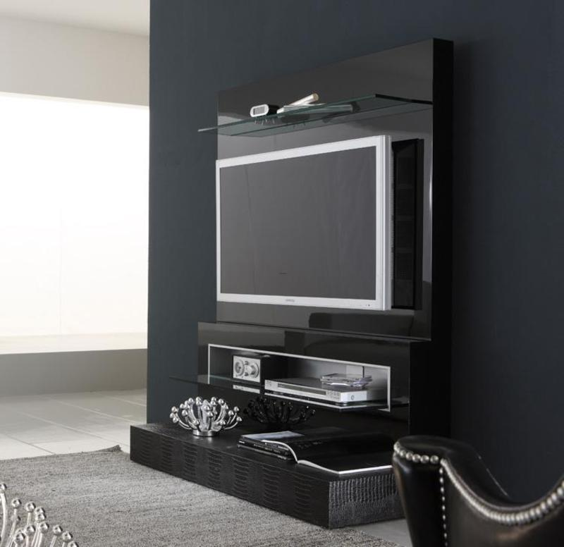 Black Wall Design Ideas : Black diamond wall mounted modern tv cabinets design