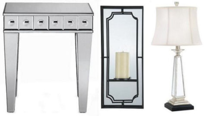 Mirrored Side Table, mirrored furniture roundup