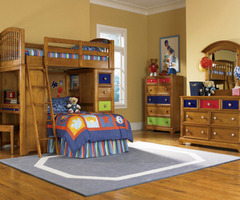 Kid Bedroom With Loft Drawer