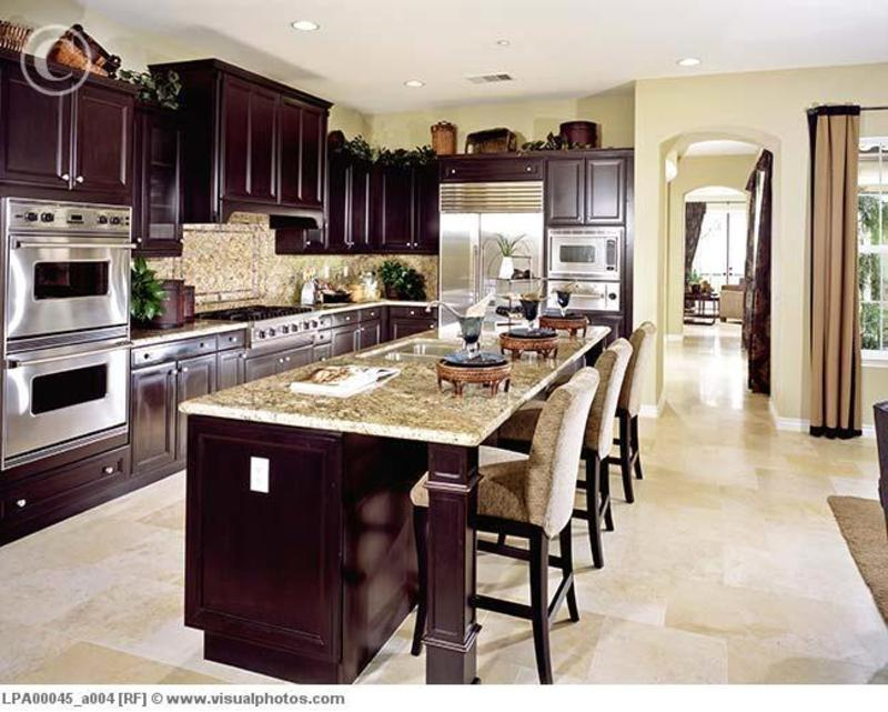 Contemporary kitchen with dark wood cabinets lpa00045 for Dark wood cabinets small kitchen