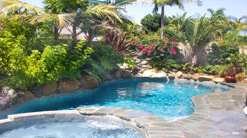 Some ideas for pool landscape design design bookmark 7652 for Pool landscaping pictures