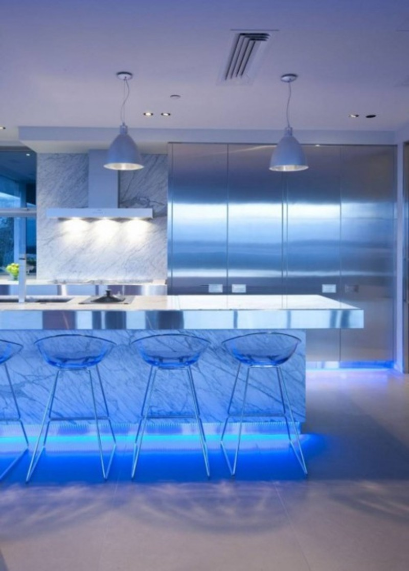 Ultra modern kitchen design with led lighting fixtures Modern kitchen light fixtures