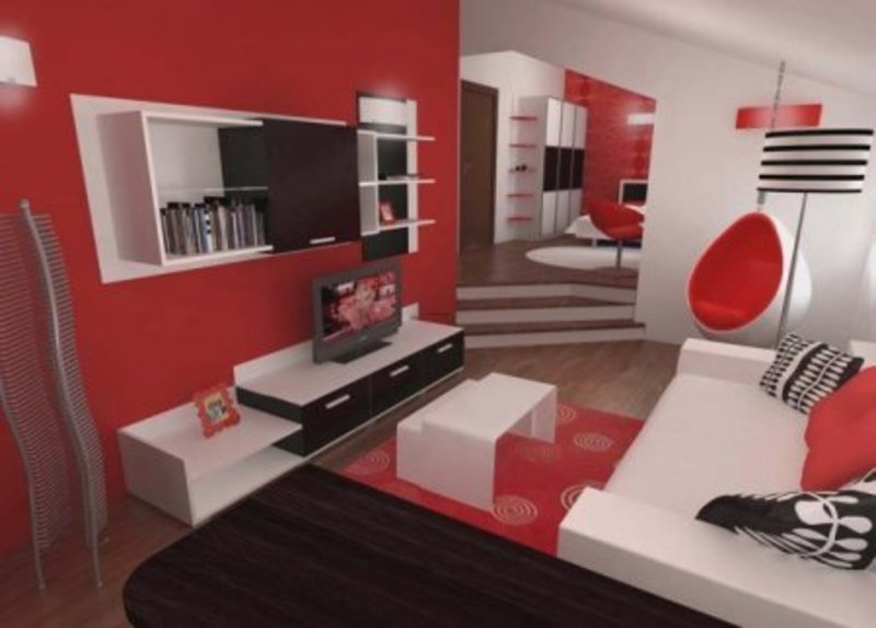 Perfect Inspiring Contemporary Bedroom In Red, Black And