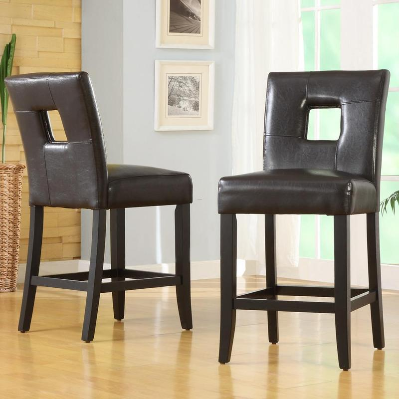 Mendoza Brown Keyhole Back Counter Chairs Set Of 2 Design Bookmark 7991