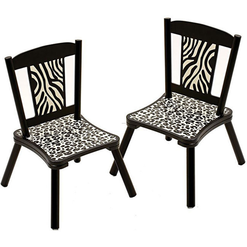 Wild side zebra print kids 39 chairs set of 2 design for Kids recliner chair
