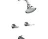 Kohler K 16213 4 Cp Polished Chrome Revival Bath And Shower Faucet With Scroll Lever Handles And Standard Showerarm And Flange