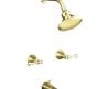 Kohler K 16213 4 A Pb Vibrant Polished Brass Revival Bath And Shower Faucet With Traditional Lever Handles And Standard Showerarm