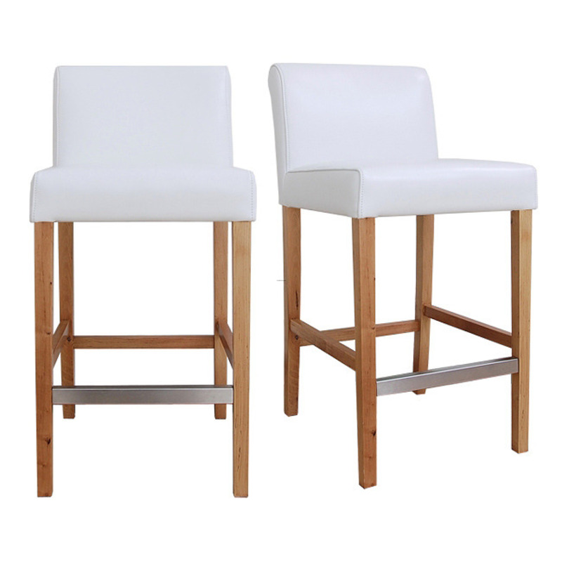 Cosmopolitan Modern White Leather Counter Stools Set Of 2 Design Bookmark 8041