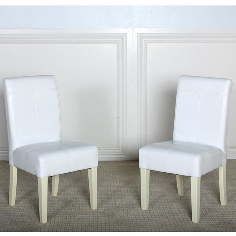Isabella White Patent Leather Dining Chair Set Of 2