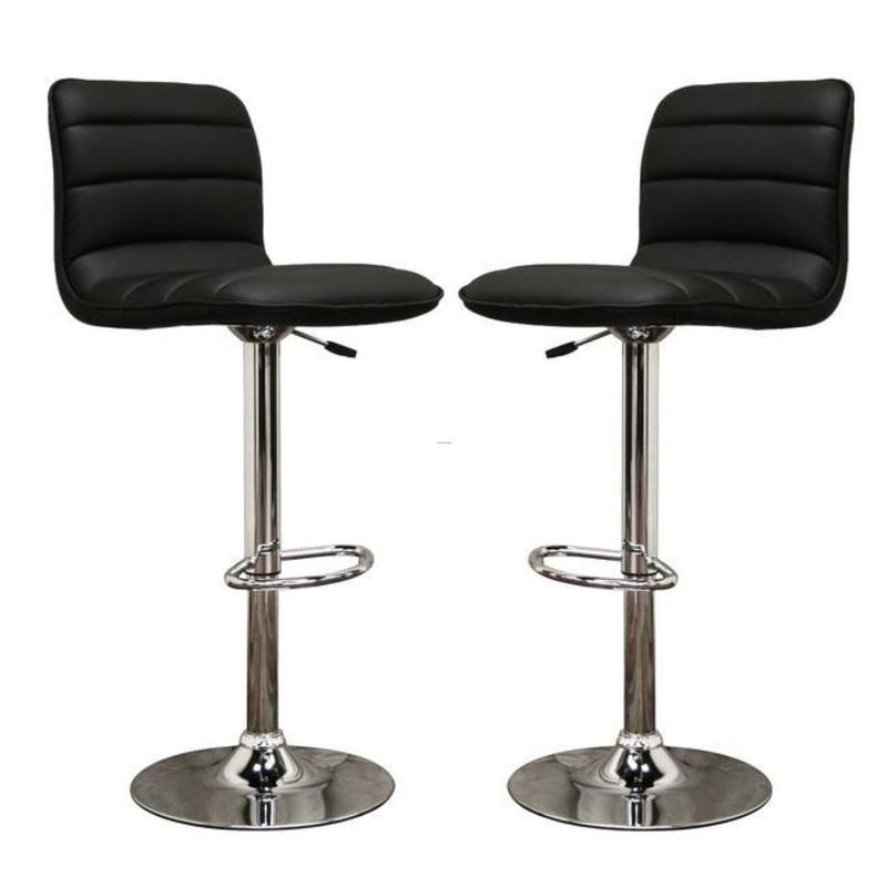 lyris black faux leather modern bar stools set of 2