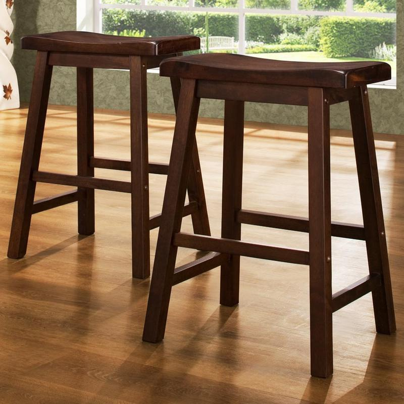 Salvador Saddle Back 24 Inch Cherry Stool Set Of 2