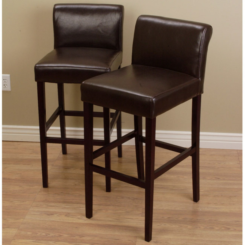 Cosmopolitan Dark Brown Leather Counter Stools Set Of 2 Design Bookmark 8087