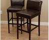 Cosmopolitan Dark Brown Leather Counter Stools (Set Of 2)