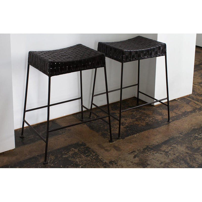 Set Of 2 Woven Leather And Steel Backless Barstools India