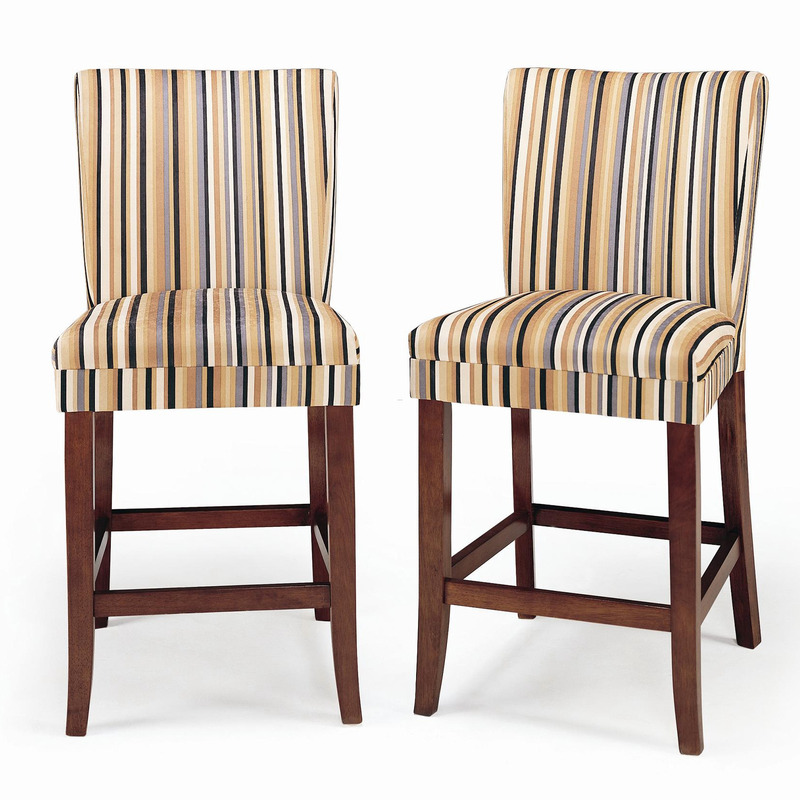 Parson Striped Upholstered Pub Stool Set Of 2 Design