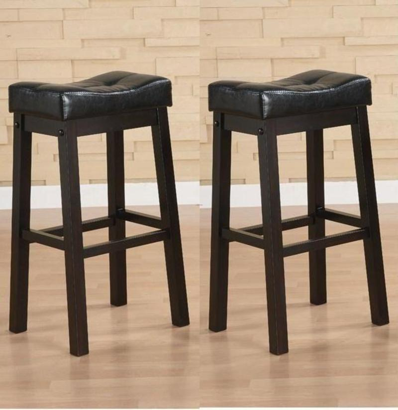 Black 30 inch bicast leather counter height saddle bar stools set of 2 design bookmark 8117 - Average height of bar stools ...