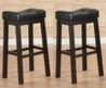 Black 30 Inch Bicast Leather Counter Height Saddle Bar Stools (Set Of 2)