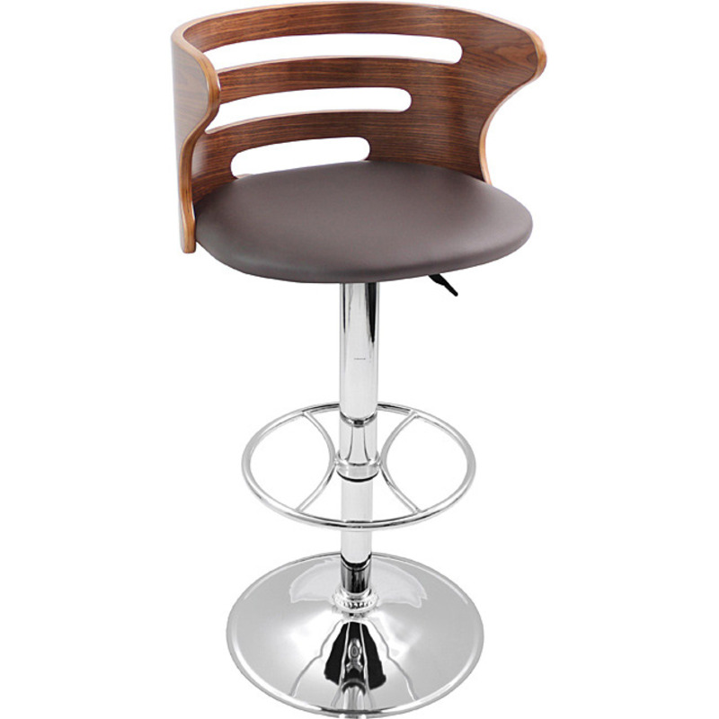 Modern Walnut Wood Chrome Hydraulic Bar Stool Design