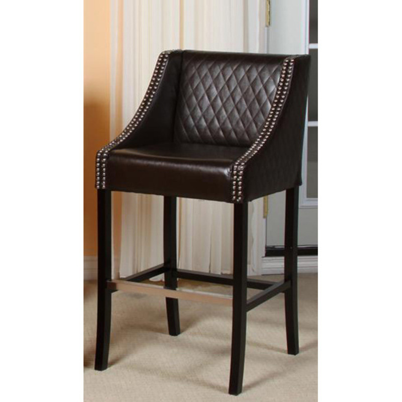 Milano Brown Quilted Bonded Leather Bar Stool Design