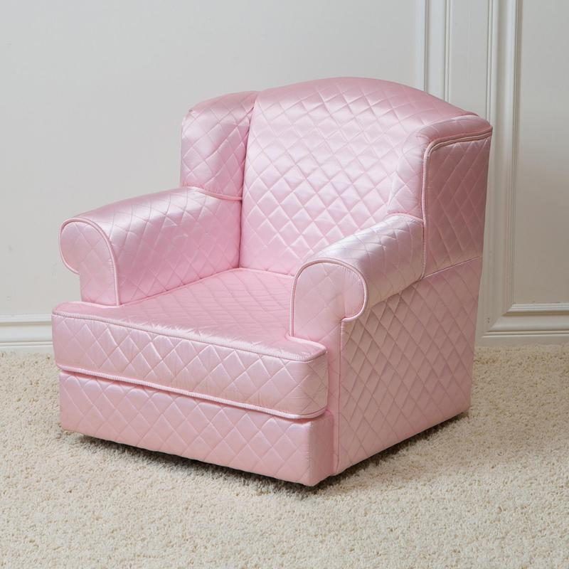 Kids Furniture Chairs, Quilted Sateen Fabric Pink Kids Club Chair