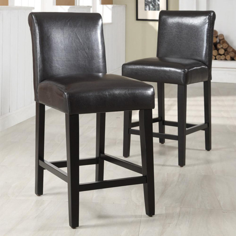 Bennett 24 Inches Brown Faux Leather Barstools Set Of 2