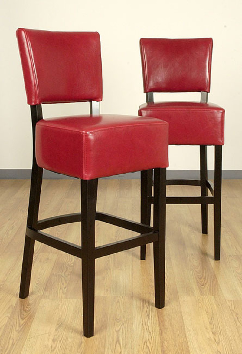 Wasatch Burnt Red Leather Barstools Set Of 2 Design