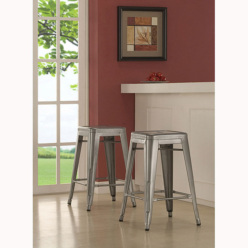 Tabouret 24 Inch Metal Counter Stools Set Of 2 Design Bookmark 8240