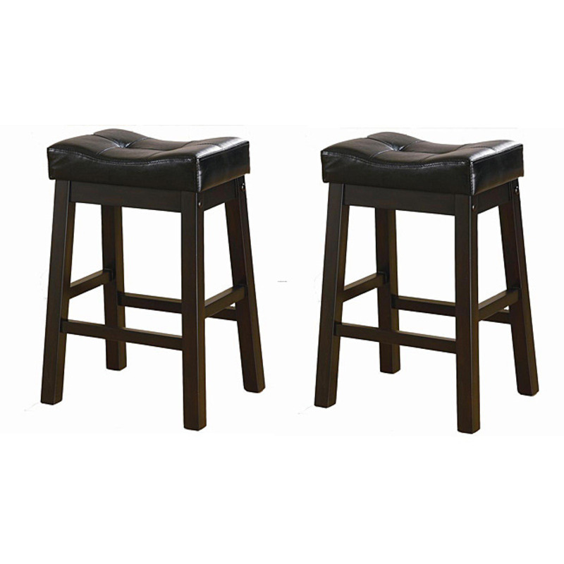 Black 24 Inch Bicast Leather Counter Height Saddle Bar Stools Set Of 2 Design Bookmark 8303