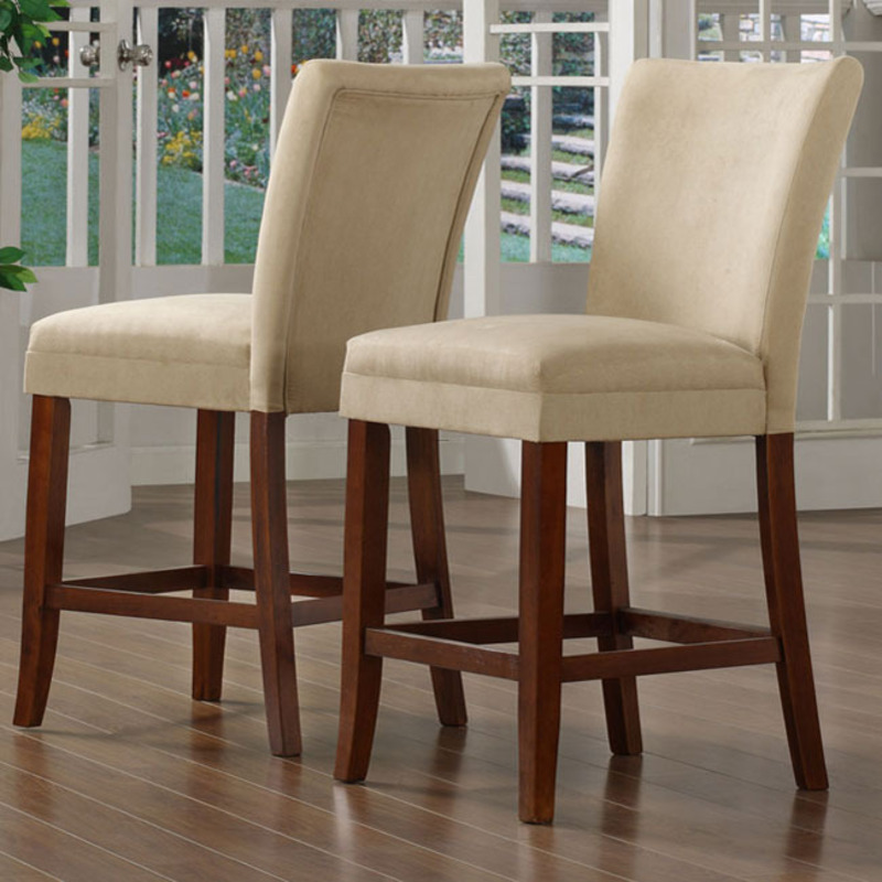 Parson Cherry With Peat Microfiber Counter Chair Set Of 2 Design Bookmark 8315