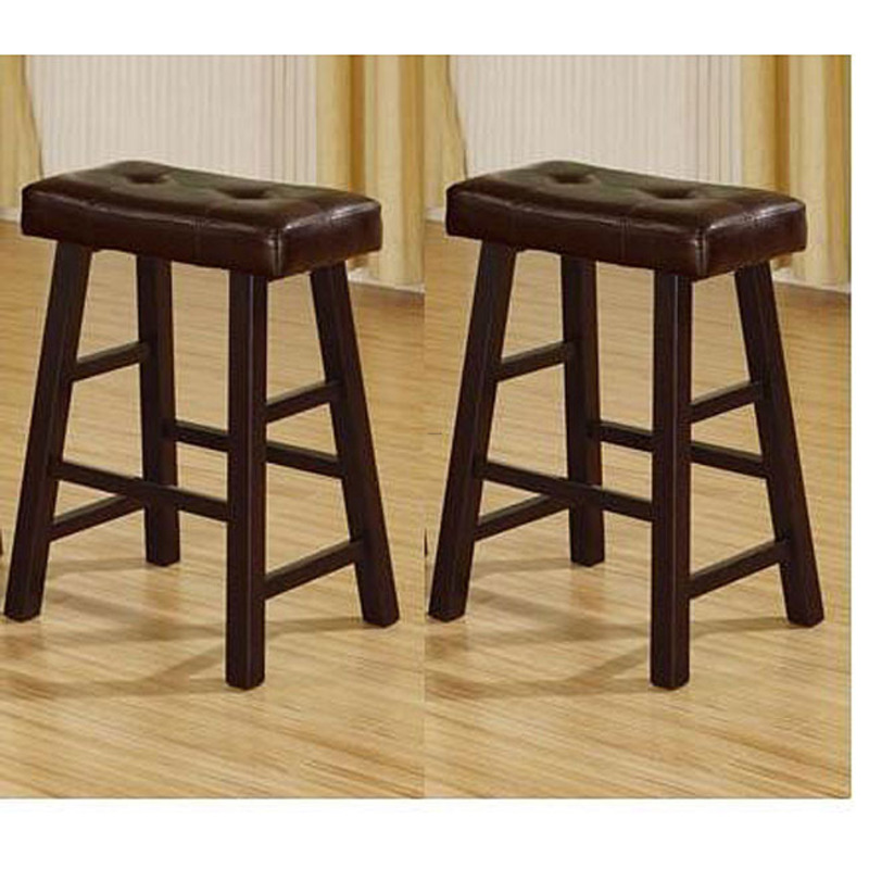 24 Inch Espresso Brown Bicast Leather Counter Height Saddle Bar Stools Set Of 2 Design