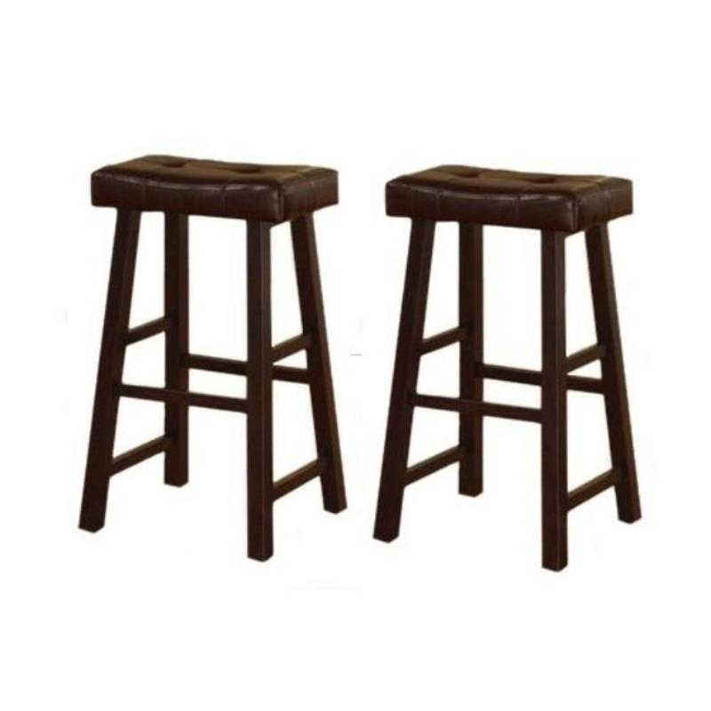 29 Inch Espresso Brown Leather Saddle Bar Stools Set Of 2