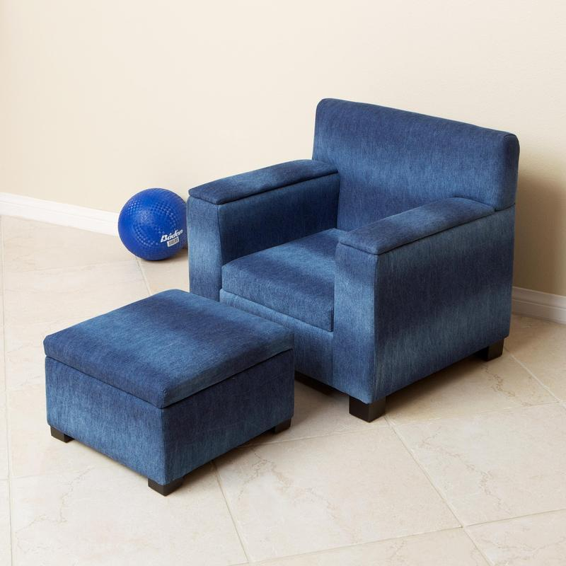 Blue Denim Fabric Kid S Club Chair And Ottoman Set Design Bookmark 8413