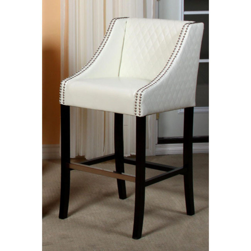 Milano Ivory Quilted Bonded Leather Bar Stool Design