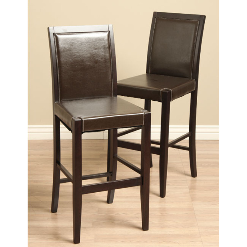 Lita Leather Bar Chairs Set Of 2 Design Bookmark 8476